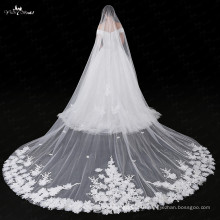 LZP030 Lace Fabric Artificial Flower Veil Wedding Bridal Long